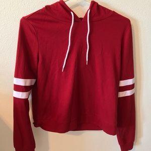 Red pullover sweatshirt